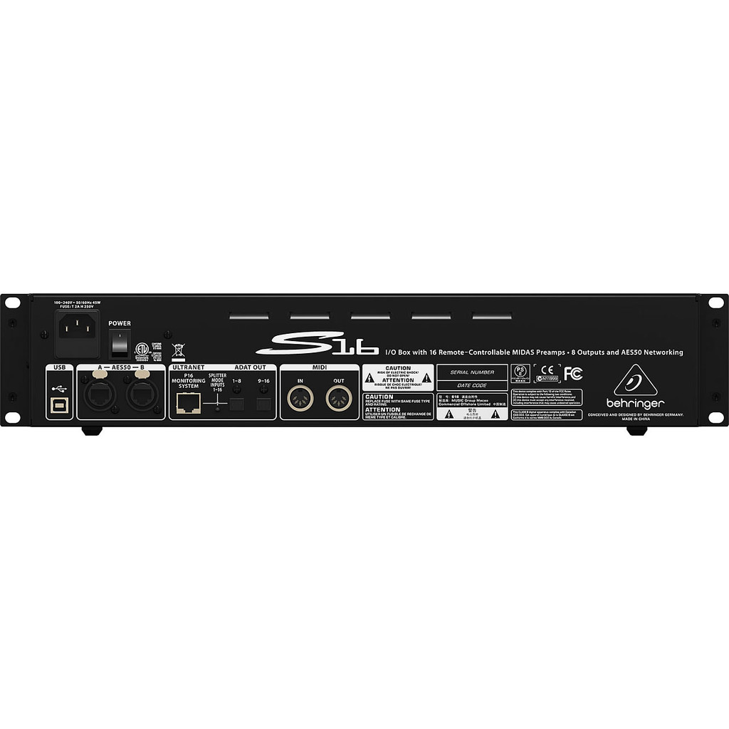 Behringer S16 DIGITAL SNAKE I/O Box with 16 Remote-Controllable Mic/Line Inputs, 8 Outputs and AES5 Rear