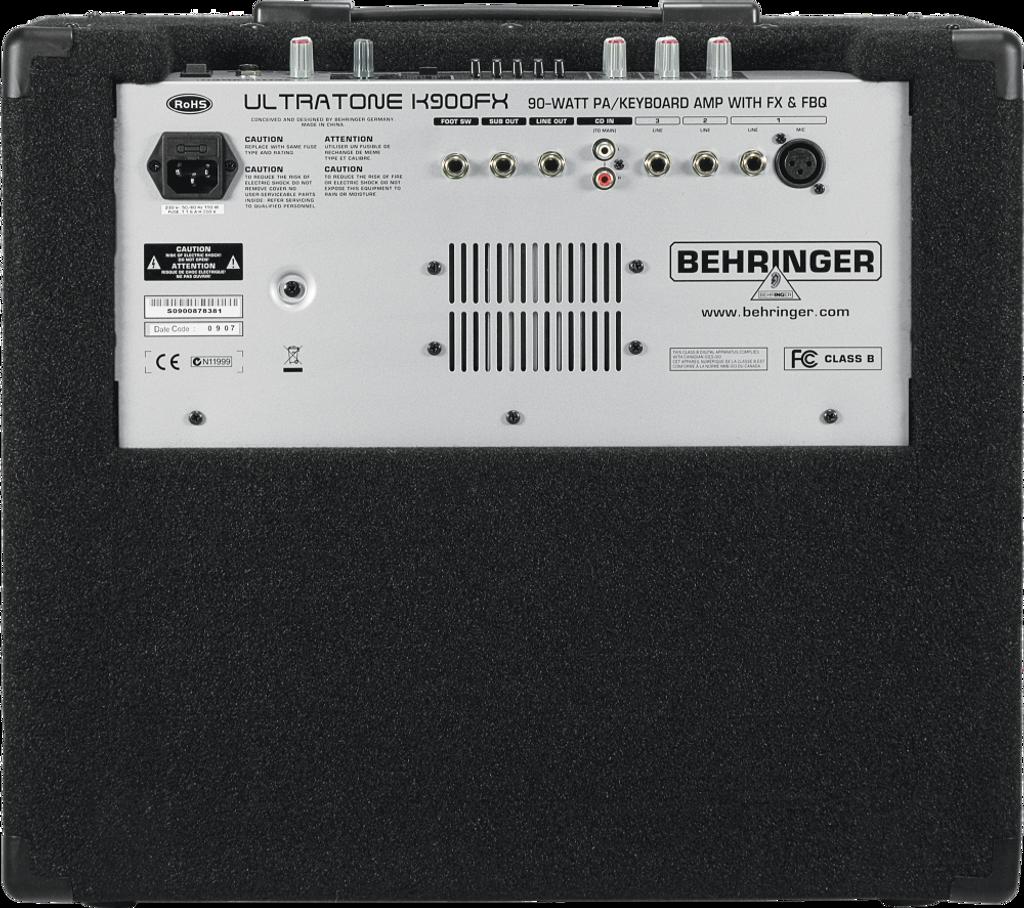 Behringer K900FX 90w 3ch Keyboard Amp rear