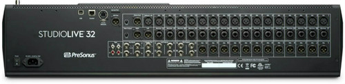 Back view of the Presonus 32 Series III Digital Mixer showing most input and outputs