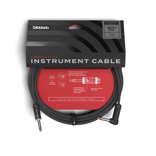 D'Addario 10ft American Stage Instrument Cable (RT)