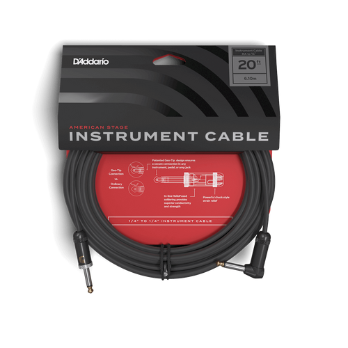 D'Addario 20ft American Stage Instrument Cable (RT)