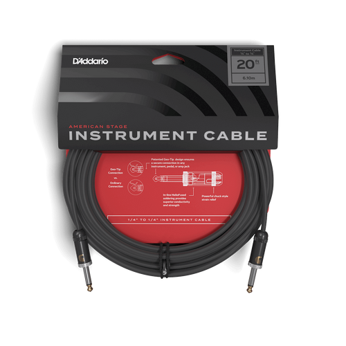 D'Addario 20ft American Stage Instrument Cable