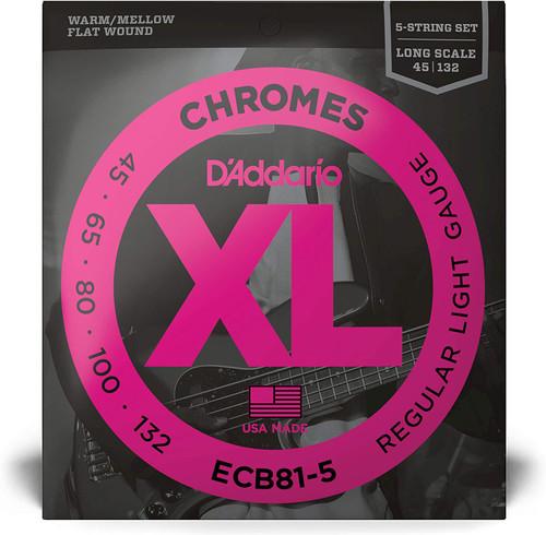 D'Addario ECB815 45-132 5 String Flate Wound Bass Strings
