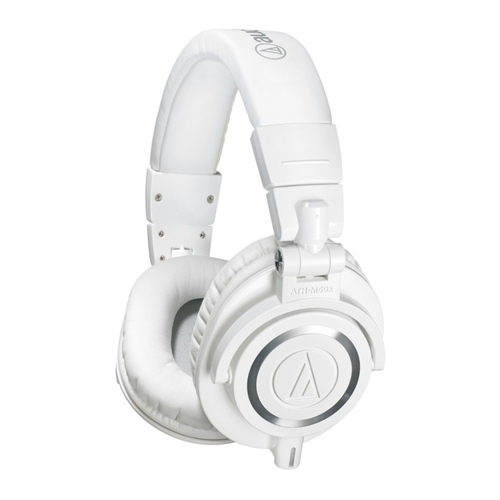 Audio Technica ATHM50WH Closed-back dynamic monitor headphones, detachable cables, white