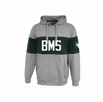 ADULT Hoodie Gray/Green Color Block BMS