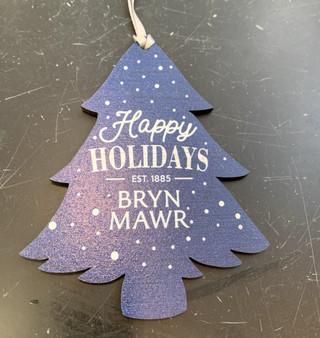 Ornament Wood Happy Holidays Blue Tree