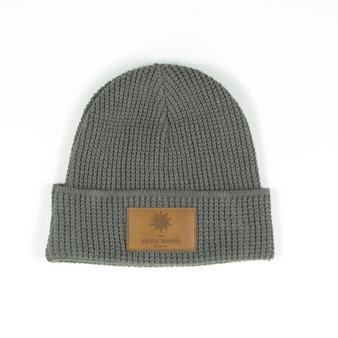 Hat Knit Grey Patch
