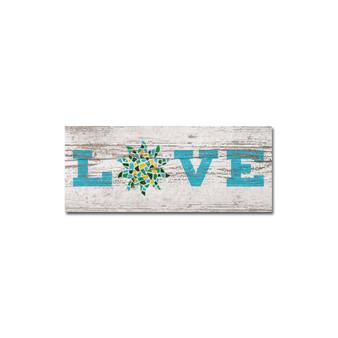 Love Mosaic Wood Decoration