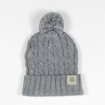 Knit Hat Cuffed Cable Knit Pompom