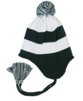 Green and white striped knit Toboggan hat with earflaps, pompom