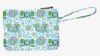 Custom Kaeli Smith for Bryn Mawr Print Canvas Wristlet with Wrist Strap, Brass Zipper