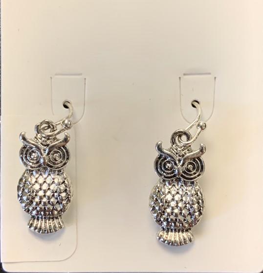 Earrings Silver Owl Dangly