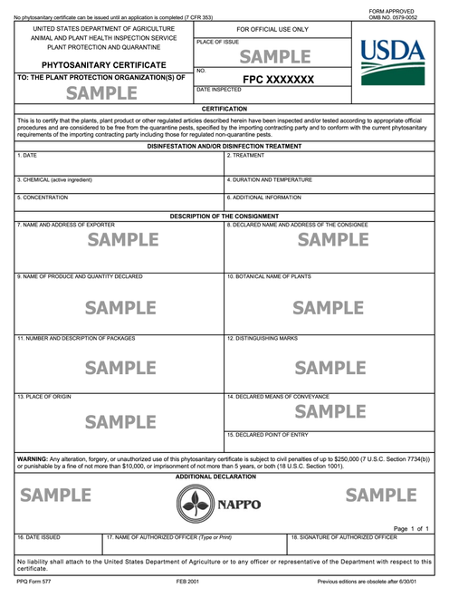 PHYTOSANITARY CERTIFICATE (for CANADA only)