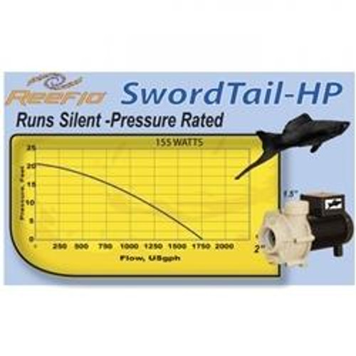 "Reeflo ""Swordtail"" Pump 1750 GPH 20' Shut Off Head"