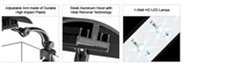 "Wavepoint Micro Sun HO Led Clamp Light 12"" 16 Watt 6500K Daylight"