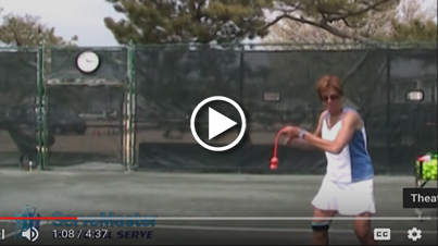 Warming up and practicing groundstrokes with ServeMaster training aid