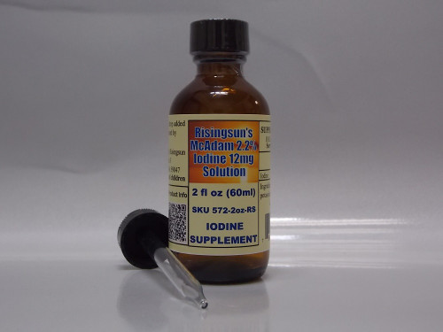Risingsun's McAdam (Lugols) 2.2% Iodine-iodide 12mg Solution- 2oz