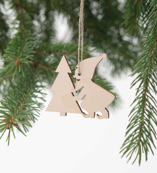 Wood Gnome Ornament Set