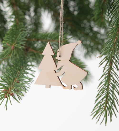 Wood Gnome Ornament Set