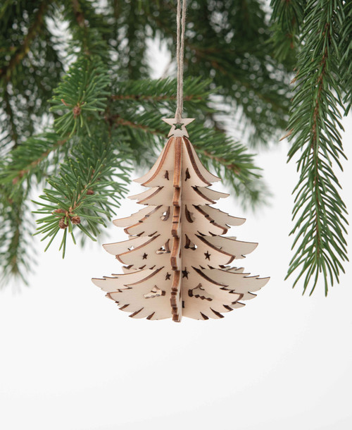 Lasercut Wood Tree Ornament