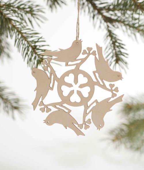 Wood Snowflake Ornament - Birds
