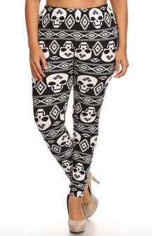 Tribal Skull Leggings One Size XL/XXL