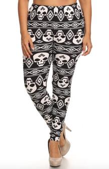 Tribal Skull Leggings One Size XL/XXL