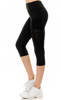 Sport Capri  - Side Pocket Mesh Pattern Panel