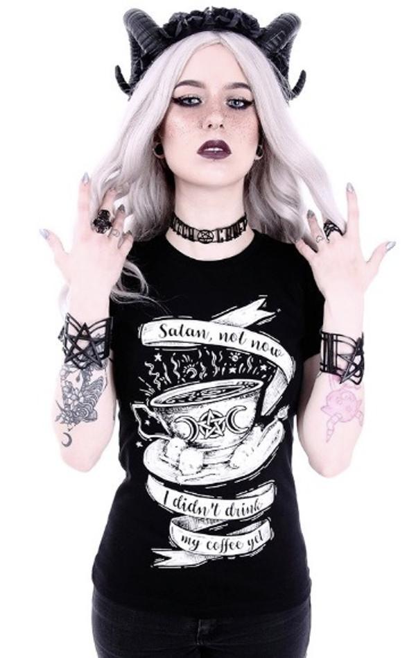 Satan Not Now Coffee Tshirt