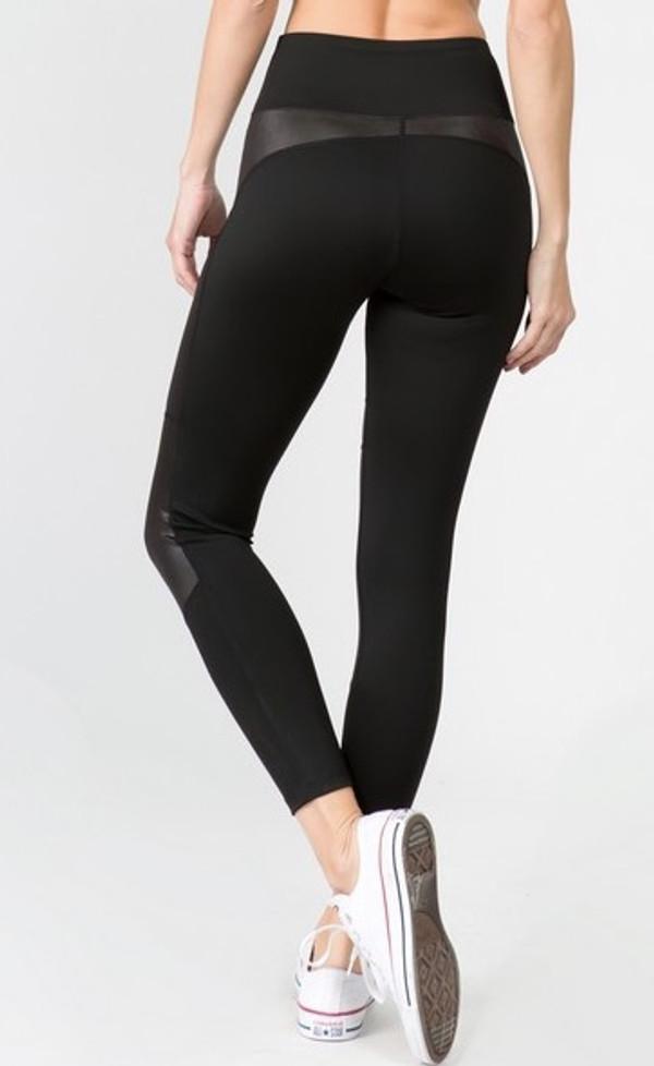 Sport Leggings - Active Faux Leather Detail