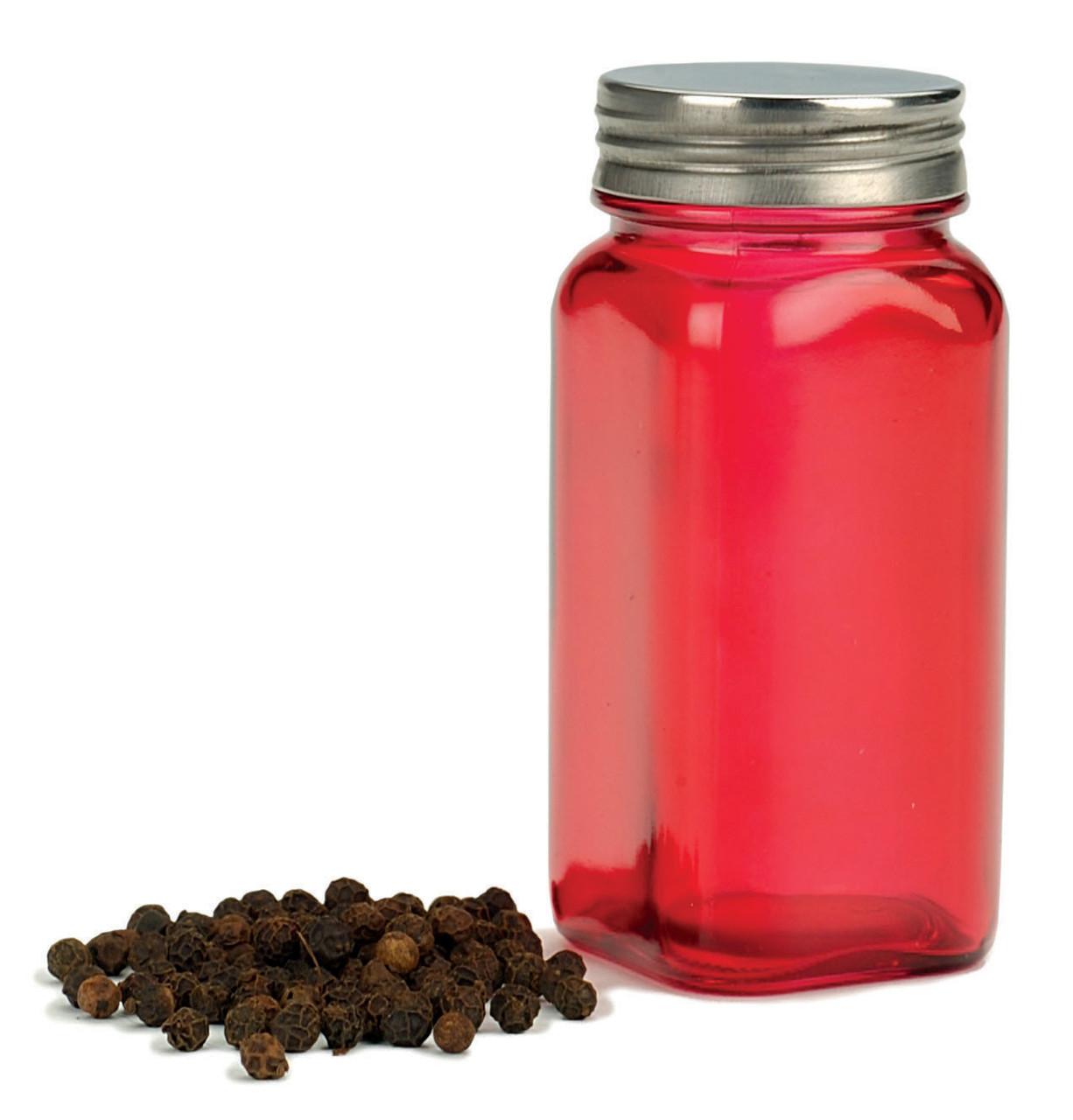 RSVP Endurance Square Glass Spice Bottle - Ruby Red - Set of 6 (RSVP SQR-R Case)