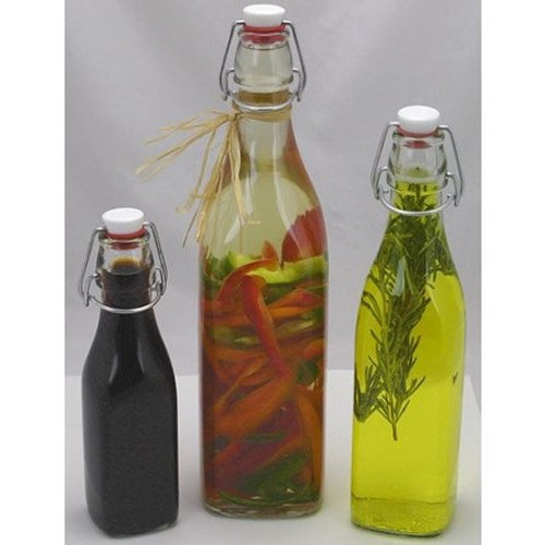 Infuse and serve oils and vinegars.