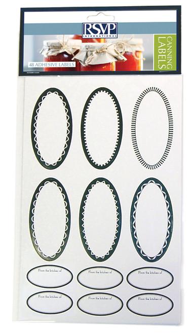 RSVP Label Collection - Oval Canning & Jelly Jar - Set of 48 (RSVP LABL-CL)