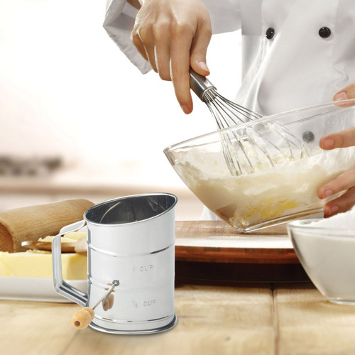 The 1- Cup Crank Sifter makes getting the lumps out easy