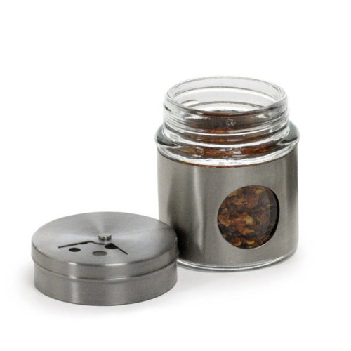 RSVP Endurance Stainless Steel Collection - 2 oz. Glass Spice Shaker- Short (RSVP GSS-2)