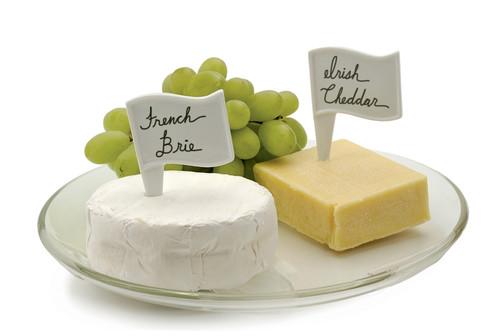 RSVP White Porcelain Cheese Flags - Set of 6 (RSVP FLAG 6)