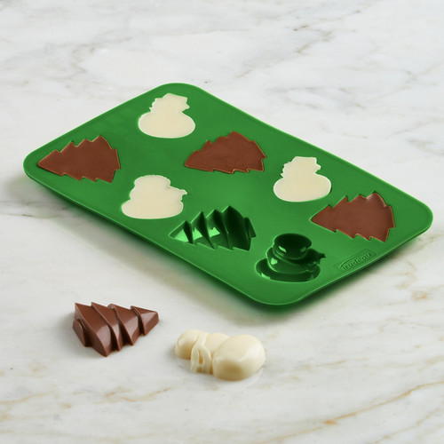 Trudeau Structure Silicon Holiday Chocolate Molds have polished cavities for shiny chocolates.