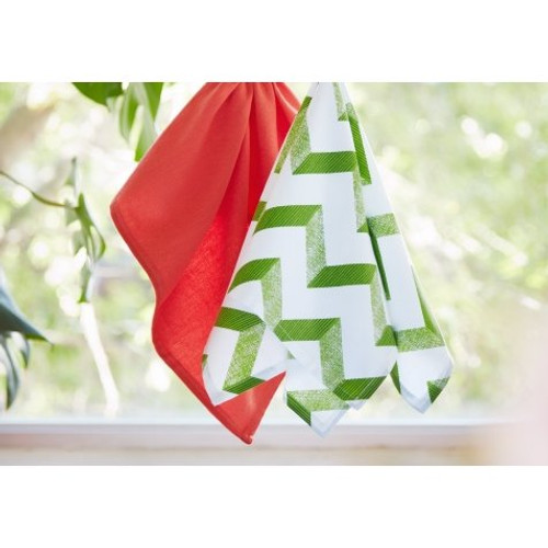 Ladelle Aluna Collection - Square Kitchen Towel Set - Green and Coral (LD 30345/50 GC)