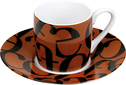 Konitz Espresso Cup and Saucer Set - Scrip Collage - Brown and Black (WK 1150530240)