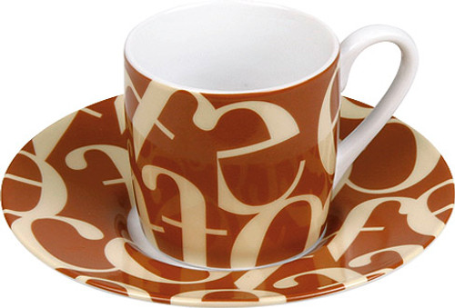 Konitz Espresso Cup and Saucer Set - Script - Brown and Cream (WK 1150530241)