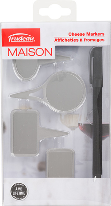 Trudeau Maison Stainless Steel Cheese Markers - Set of 4 with Pen (TR 0579005)