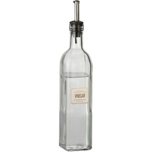 Trudeau Maison Glass Vinegar Bottle with Metal Label Plate - .5 L (TR 0538026)