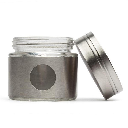 RSVP Endurance Stainless Steel Collection - 3.5oz Glass Spice Shaker - Fat (RSVP GSS-35)