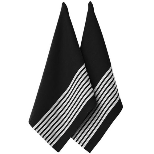 Ladelle Butcher Stripe Series II Kitchen Towel - 2 Pack - Black (LD 32955)