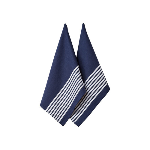 Ladelle Butcher Stripe Series II Kitchen Towel - 2 Pack - Navy (LD 32957)