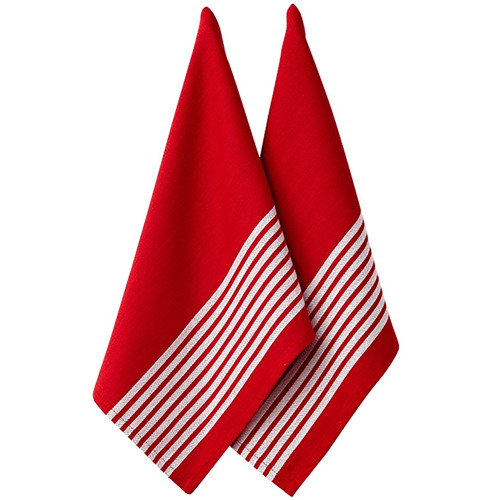 Ladelle Butcher Stripe Series II Kitchen Towel - 2 Pack - Red (LD 32956)