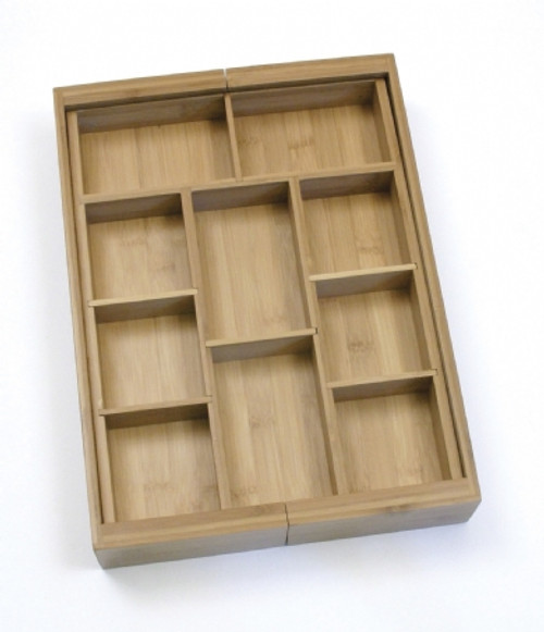 Lipper Bamboo Collection - Adjustable Expandable Drawer Organizer with 6 Removable Dividers (LI 8882)