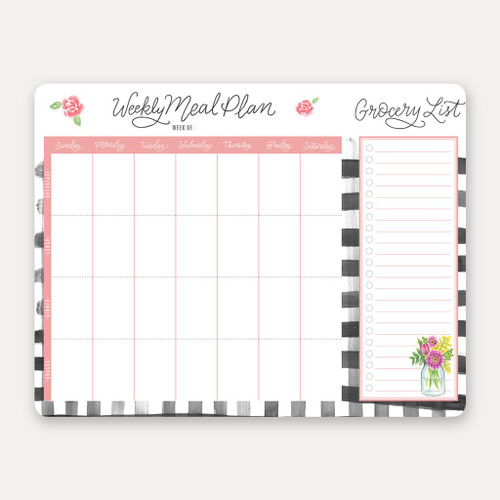Lilly & Val Meal Planner Pad with Tear-off Grocery List - Farmhouse Gingham (LV PGMPP5)