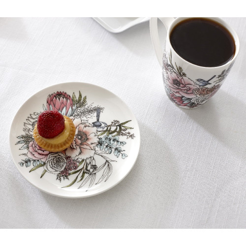 Ashdene Native Bouquet Collection - Fine Bone China 15 cm Cocktail Plate with Gift Box