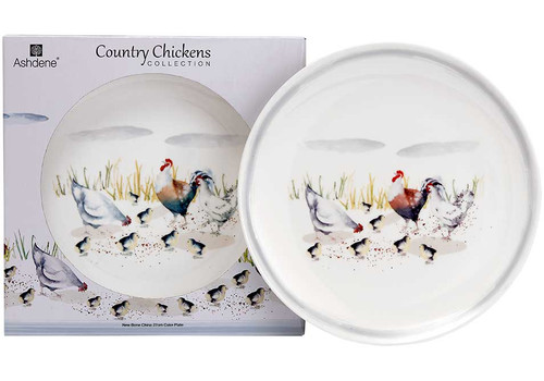Ashdene Country Chickens Collection - Cake Plate - 27 cm (10.6 in.) - Family (AD 517281)